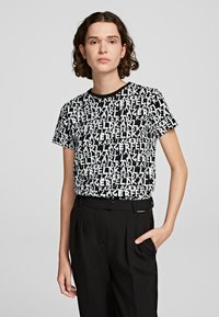 KARL LAGERFELD - Print T-shirt - black/white - 0
