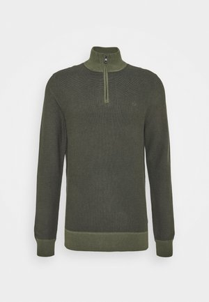 TWO TONE HALF ZIP - Jumper - dark olive