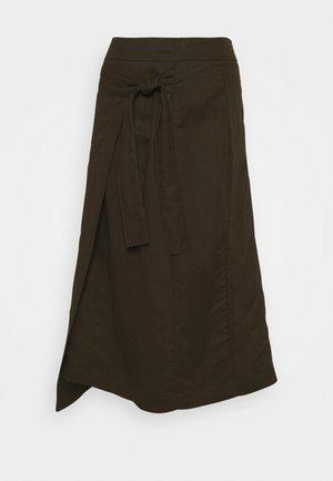 MIDI FAUX WRAP SKIRT - Wrap skirt - olive