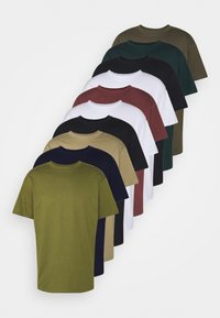Cotton On - ESSENTIAL SKATE 10 PACK - T-paita - white/navy/military/wine/teal/stone green - 6