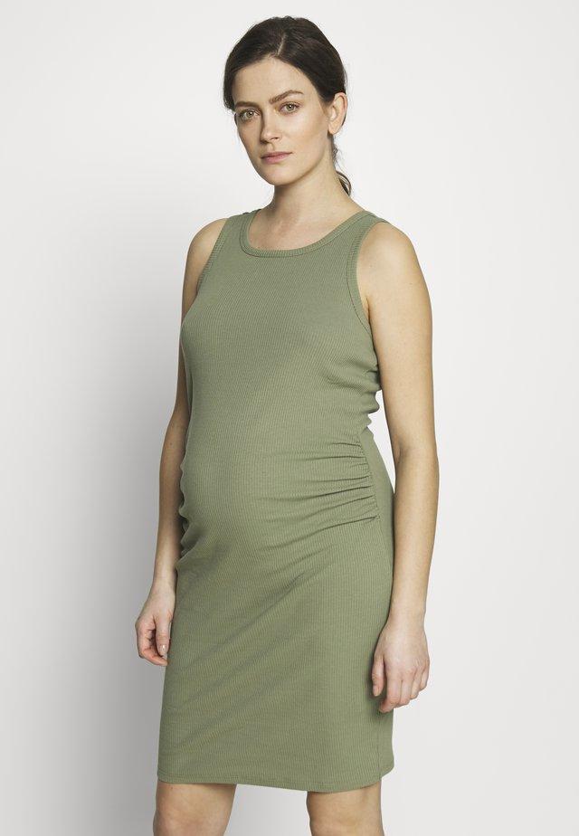 MATERNITY HIGH NECK MIDI DRESS - Žerzejové šaty - olive green