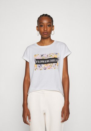 VMVENJAAVA WIDE BOX  - T-shirts print - snow white