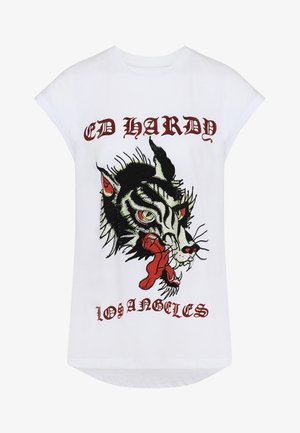 LA-WOLF DIP HEM TEE - Print T-shirt - white