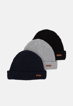 3 PACK - Beanie - light grey/black/dark blue
