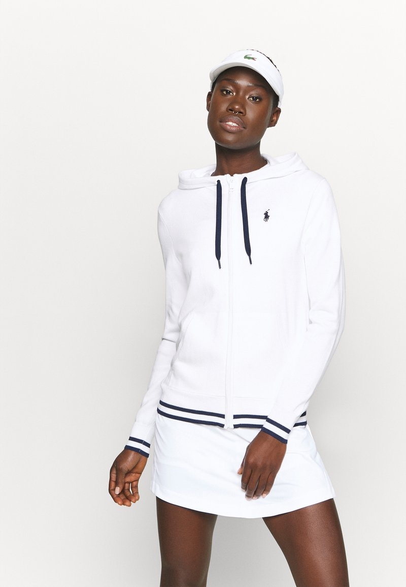 Polo Ralph Lauren Golf - FULL ZIP LONG SLEEVE - Bluza rozpinana - pure white/french navy