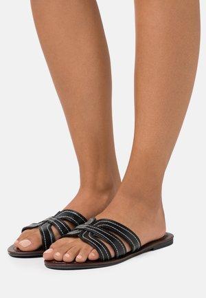 WIDE FIT STITCH MULE - Pantofle - black