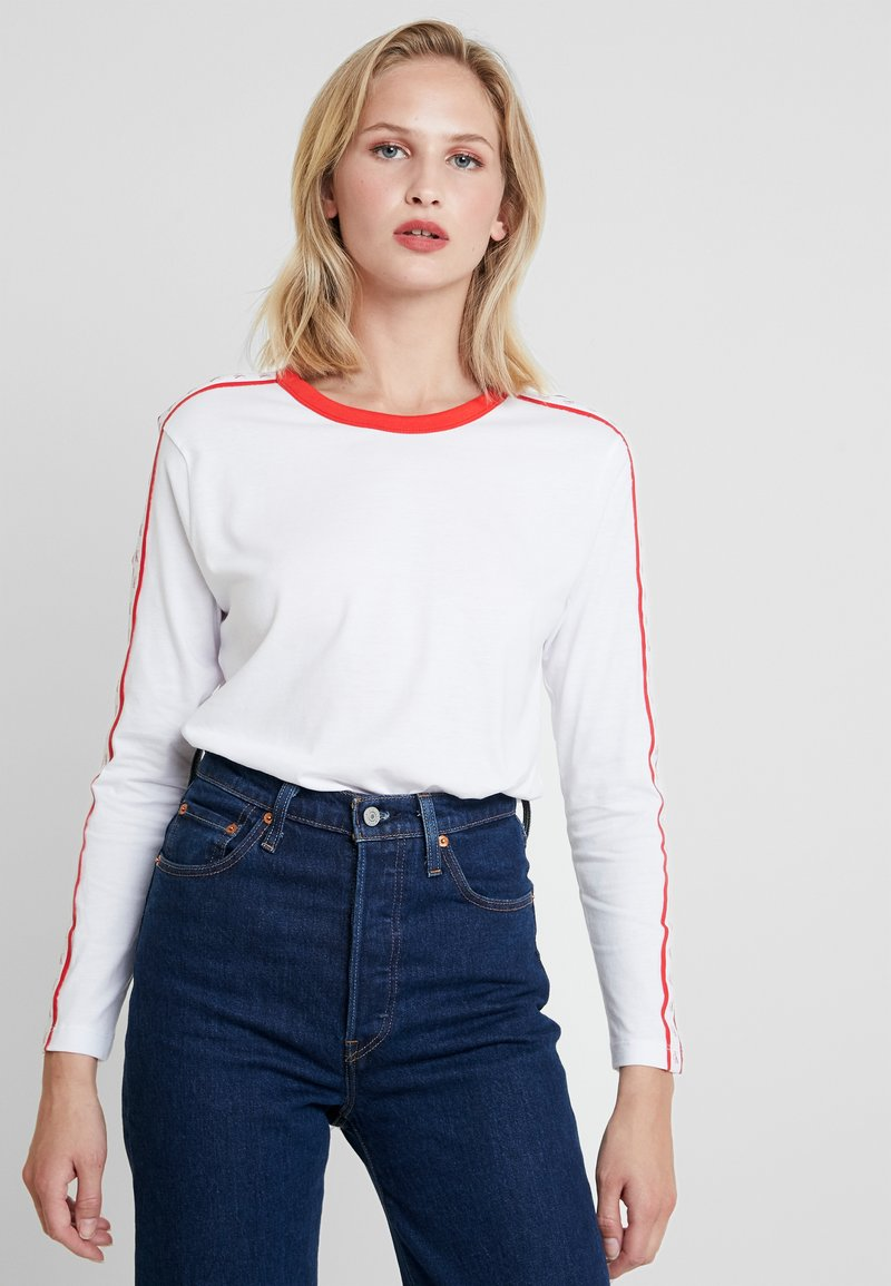 Calvin Klein Jeans - MONOGRAM TAPE STRAIGHT TEE - Long sleeved top - bright white / red