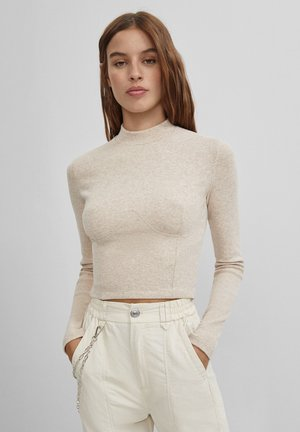MIT SCHNEIDSPITZE  - Long sleeved top - beige