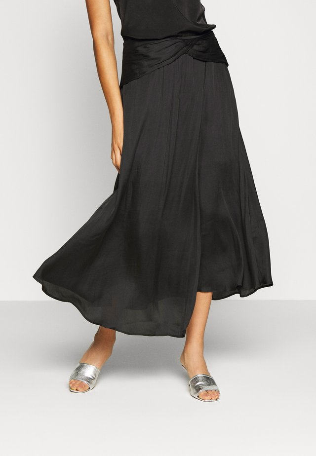 FOLDOVER WAISTBAND SOFT MIDI - Gonna a campana - black