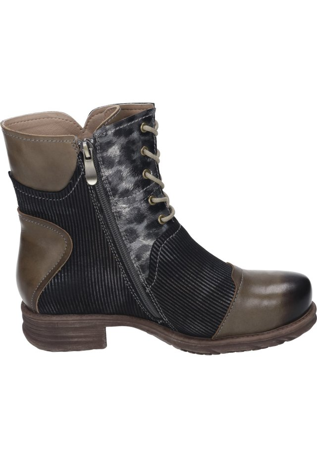 Lace-up ankle boots - braun/leo