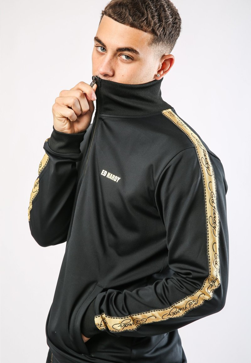 Ed Hardy - CHEETAH-CRYSTAL TRICOT HOTFIX TRACKTOP - Training jacket - black