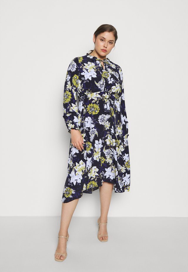 FLORAL PRINT TIE NECK DRESS - Vestido informal - navy