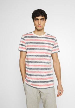 TEE INSIDE PRINTED STRIPE - Triko s potiskem - red/navy/almond