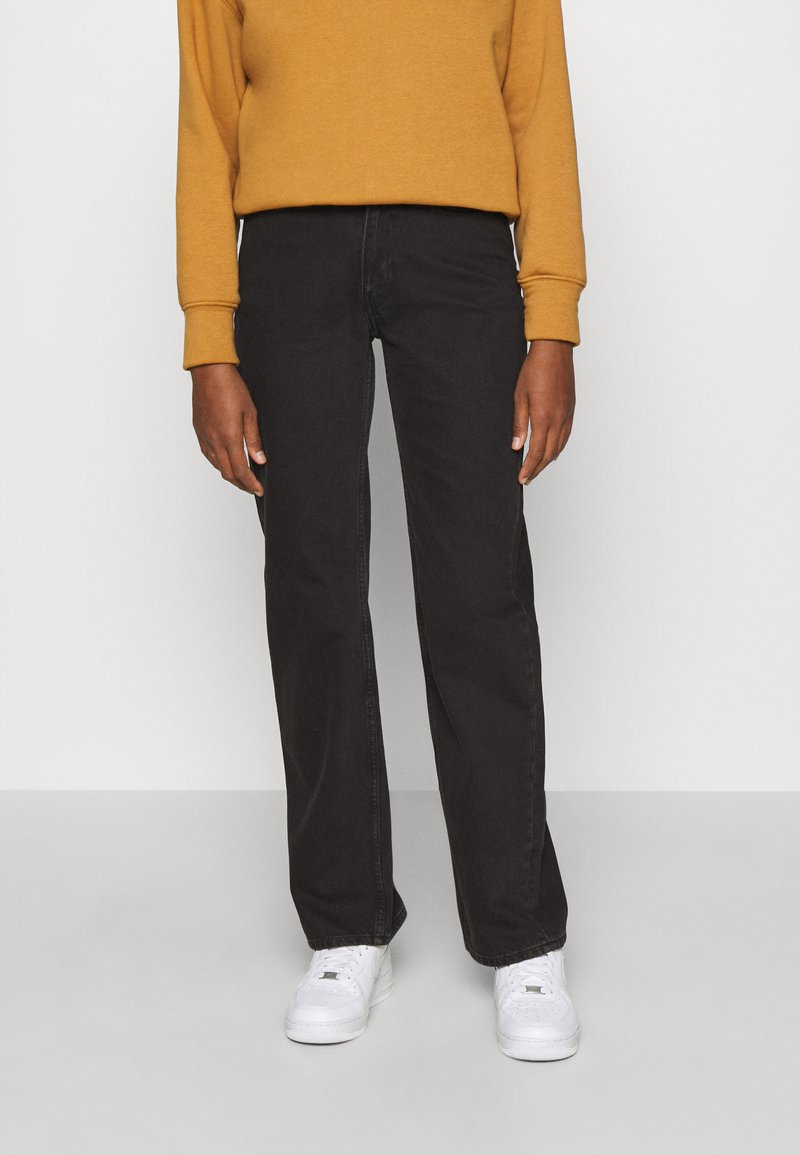 Weekday - TWIN TROUSERS - Straight leg jeans - almost black