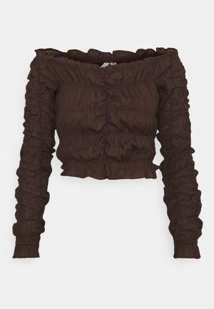 ALL OVER RUCHED - Long sleeved top - brown