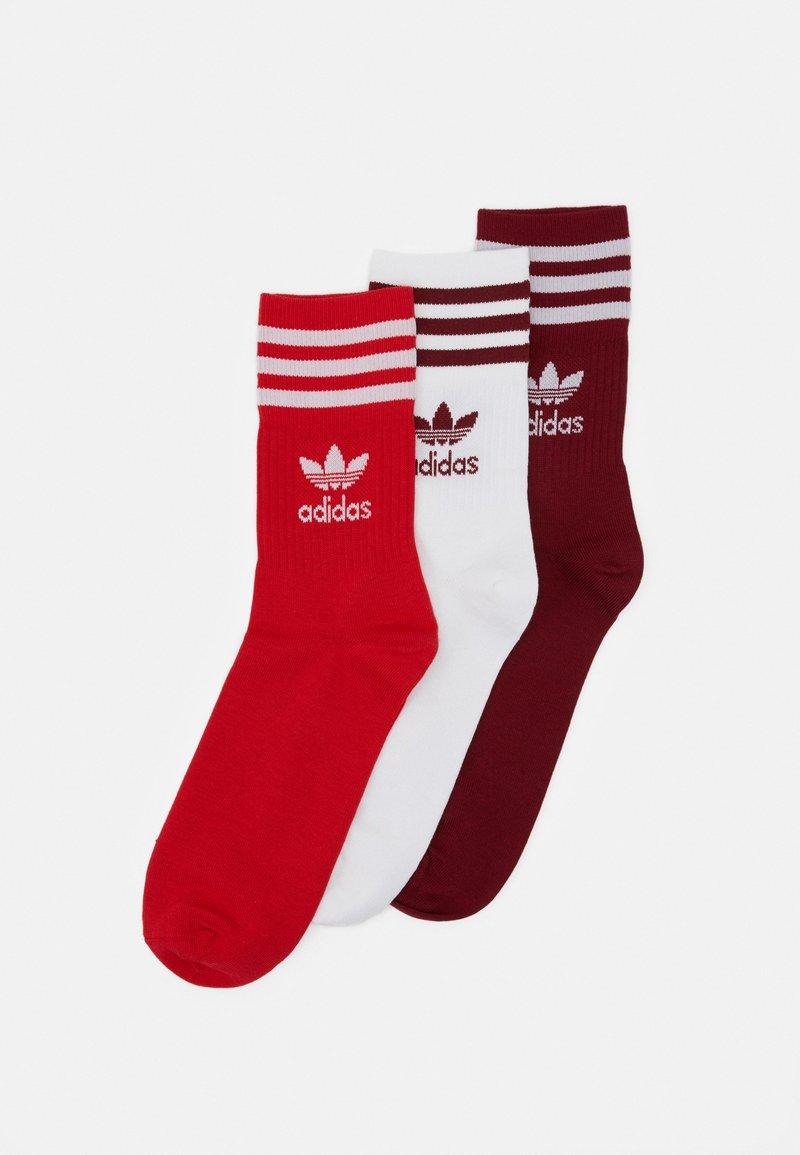 adidas Originals - MID CUT UNISEX 3 PACK - Socks - white/red/bordeaux