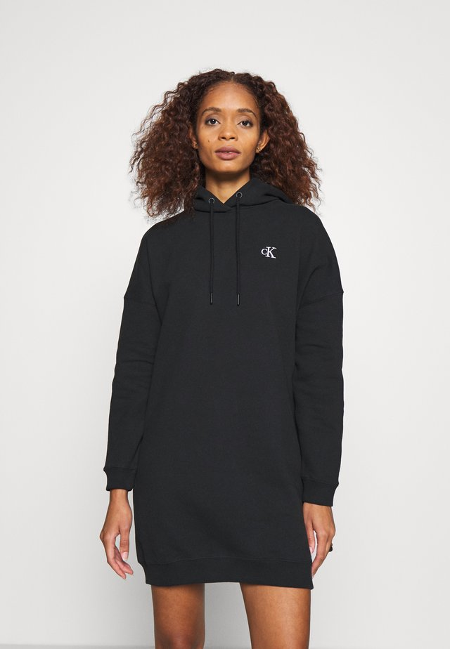 HOODIE DRESS WITH CHEST LOGO - Day dress - black
