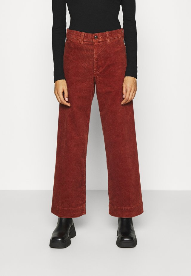 FULL LENGTH WIDE LEG - Trousers - copper beech