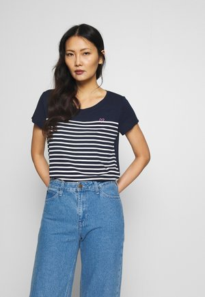SLUB TEE - Print T-shirt - navy/off white