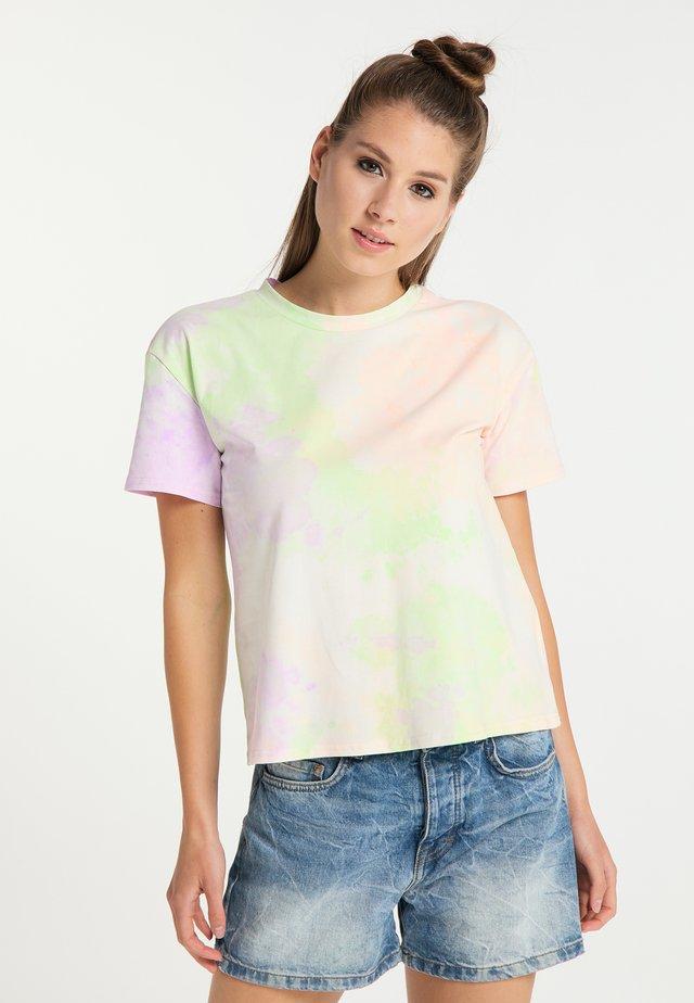 T-shirts print - orange grün flieder