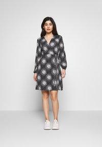 Wallis Petite - PETITE CLUSTER HEART MINI WRAP DRESS - Day dress - black - 1