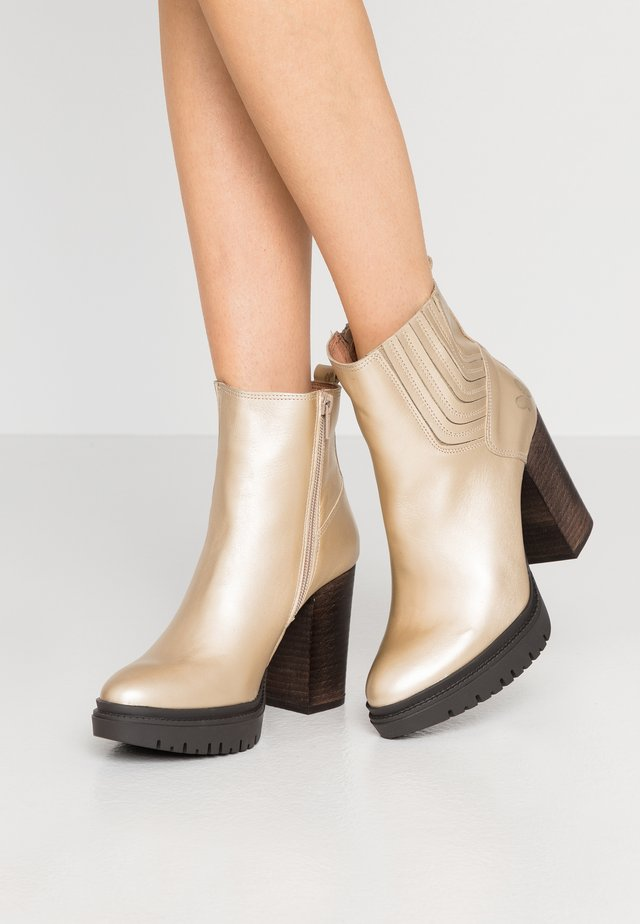 JANICE - High heeled ankle boots - metal oro opaco
