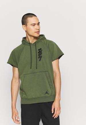 ZION CUTOFF HOODIE - Sweatshirt - carbon green/black