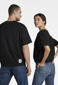 G-Star - FLOCK BOXY R T UNISEX  - Print T-shirt - dry jersey o dk black - 0
