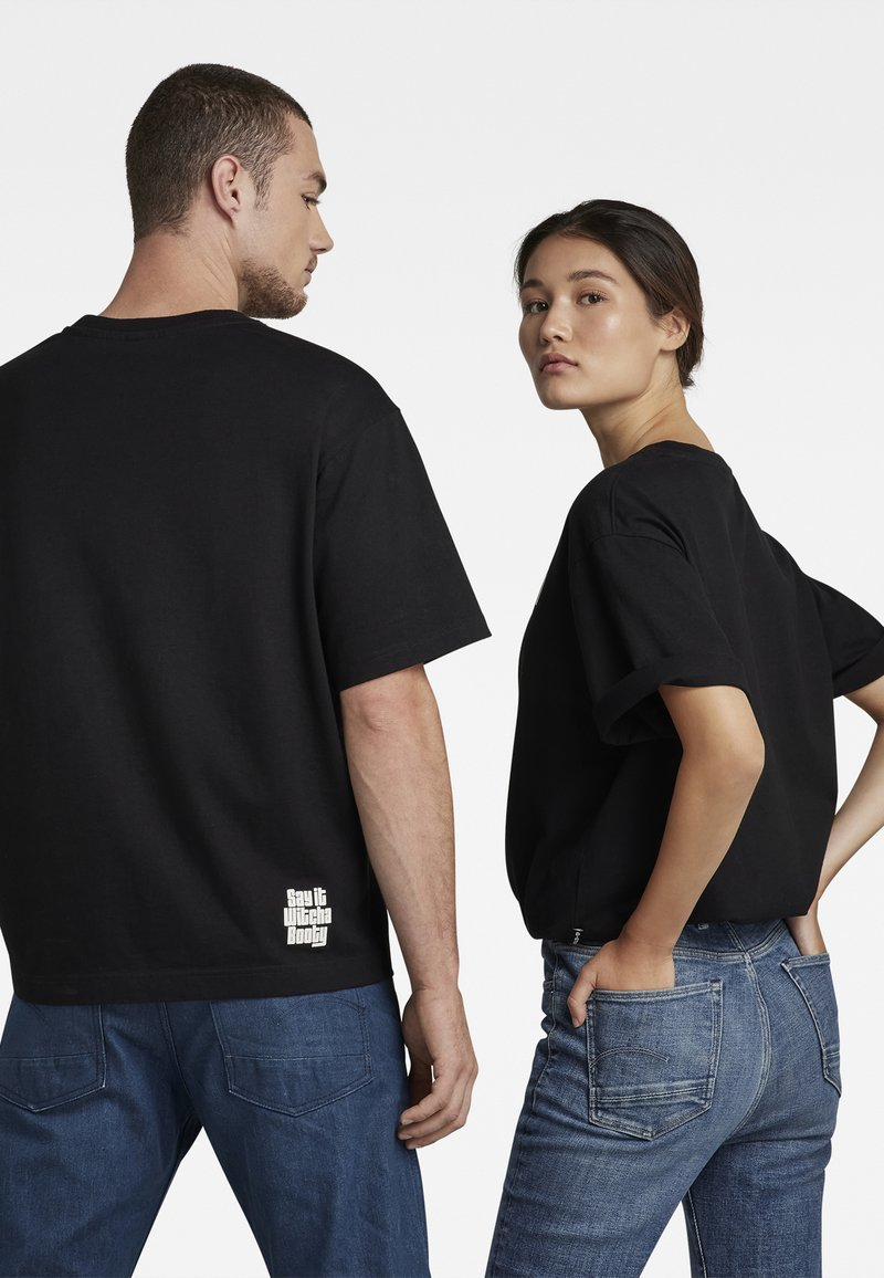G-Star - FLOCK BOXY R T UNISEX  - Print T-shirt - dry jersey o dk black