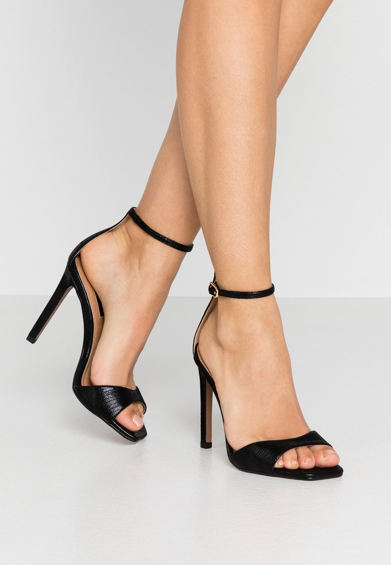 Topshop Wide Fit - WIDE FIT SILVY PART - High heeled sandals - black
