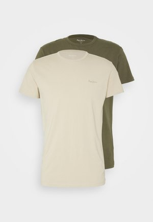 ORIGINAL 2 PACK - Basic T-shirt - khaki/biscuit