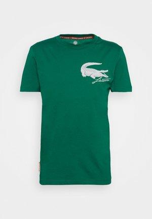 LOGO - T-shirt print - bottle green/white