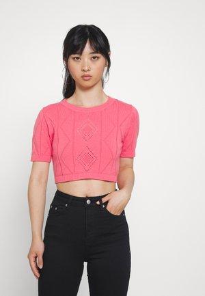 POINTELLE SHORT SLEEVE CROP - Print T-shirt - pink