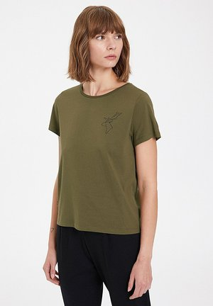 WINTER DEER - Basic T-shirt - dark olive
