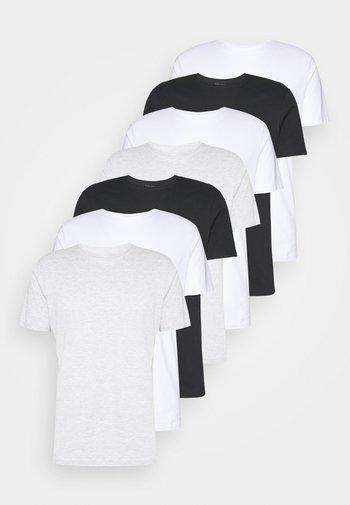 7 PACK - T-shirt - bas - white/black/light grey