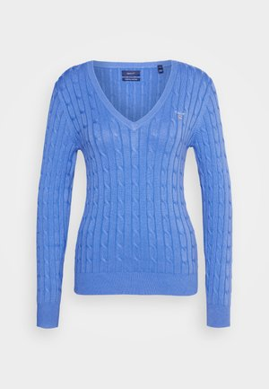 STRETCH CABLE V NECK - Strickpullover - pacific blue