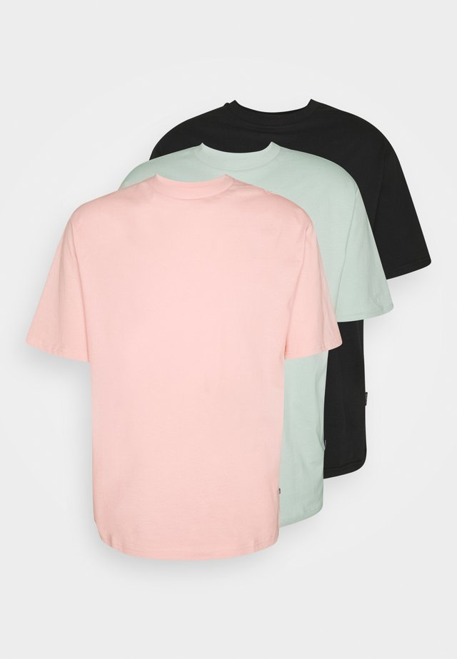 3 PACK UNISEX - T-shirt basique - black/pink/green