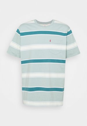 RELAXED FIT POCKET TEE - Printtipaita - poolside/blue surf