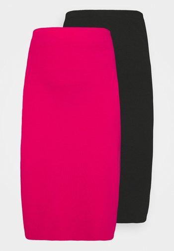 2 PACK - Falda de tubo - black/pink