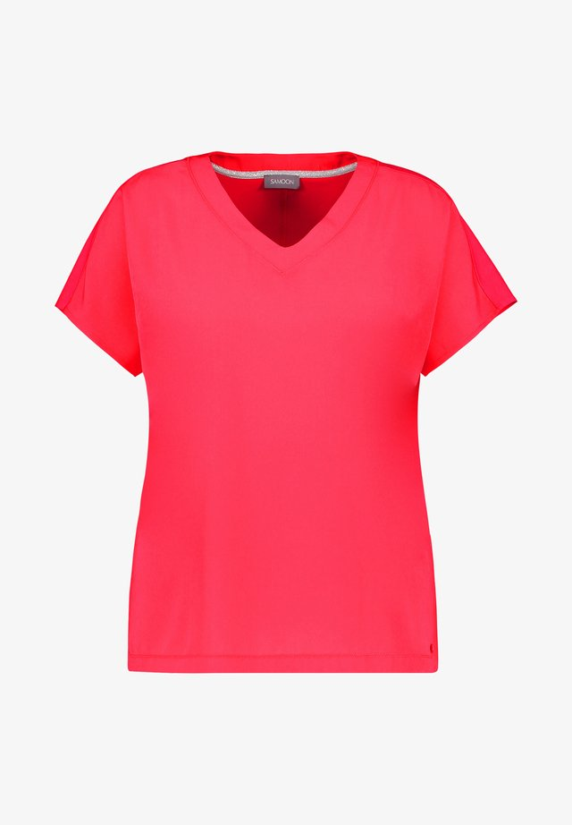 MIT MATERIAL-MIX - Basic T-shirt - bright rose