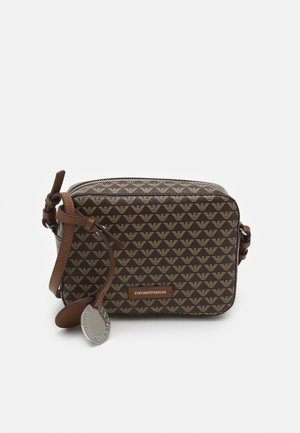 CAMERA BAG ALLOVER LOGO - Across body bag - cognac