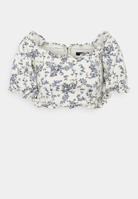 Missguided - FLORAL SQUARE PUFF SLEEVE - Print T-shirt - white - 3