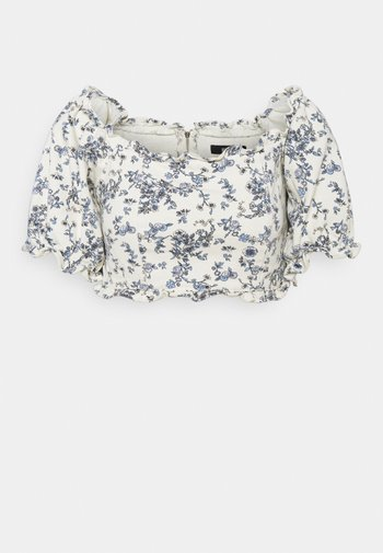 FLORAL SQUARE PUFF SLEEVE - Printtipaita - white