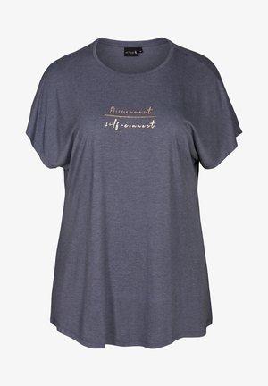 MIT TEXTPRINT - Print T-shirt - blue