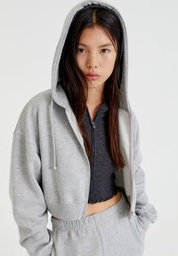 PULL&BEAR - BASIC - Zip-up sweatshirt - mottled grey - 3