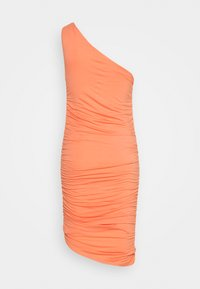 Lost Ink - ONE SHOULDER RUCHED BODYCON MINI DRESS - Kjole - coral - 1