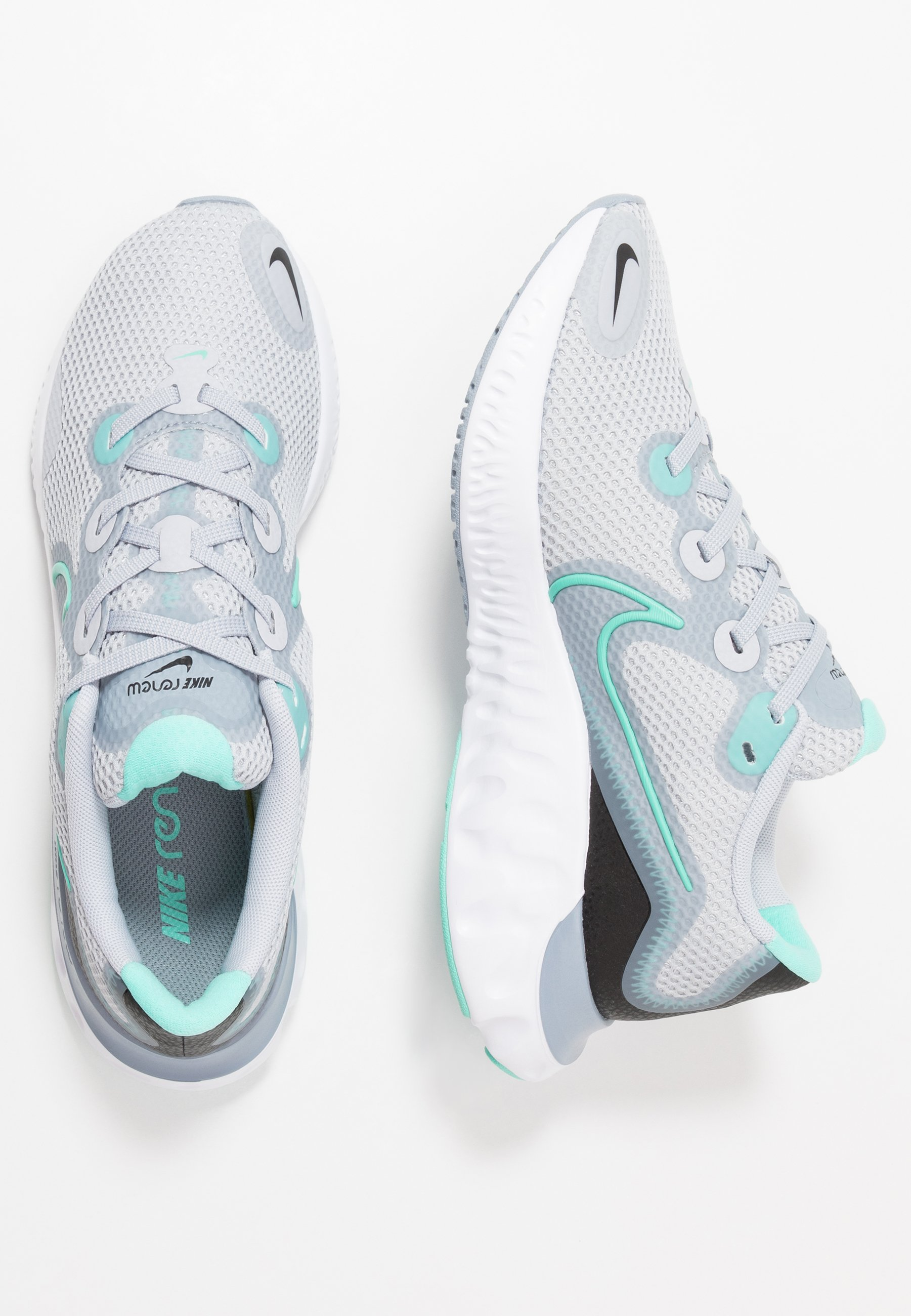 Nike Performance RENEW RUN - Neutral running shoes - sky grey/hyper turquoise/obsidian mist/white