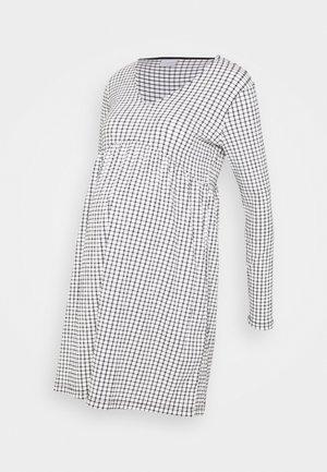 MLCILLE DRESS CHECK - Žerzejové šaty - snow white/black