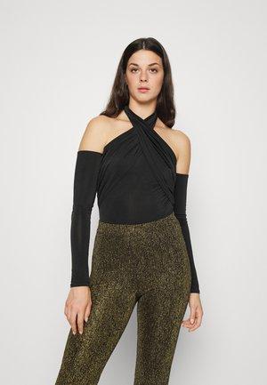 WRAP NECK BODY - Long sleeved top - black