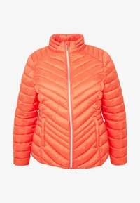 Simply Be - PACKAWAY SHORT LIGHTWEIGHT PADDED JACKET WITH CONCEALED HOOD (SH - Light jacket - coral - 4